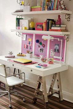 Cool desk for a teenage girl. Love the bulletin boards. By Amanda Nisbet.