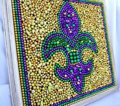 Diy+mardi+gras+reception | Framed Mardi Gras bead Fleur De Lis... by josephine
