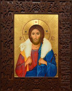 Good Shepherd Icon in Carved Wooden Frame Learn more: https://catalog.obitel-minsk.com/icon-idm-93-12.html #CatalogOfGoodDeeds #OrthodoxIcon