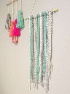 """"" Items similar to Yarn wall hanging. Woven wall hanging in teal. Kids childrens room home decor. on Etsy """" Yarn wall hanging. Woven wall hanging in teal. Kids childrens room home decor. Yarn Wall Art, Yarn Wall Hanging, Tapestry Wall Hanging, Wall Hangings, Yarn Crafts, Diy Crafts, Bohemian Wall Tapestry, Ideias Diy, Sewing Art"