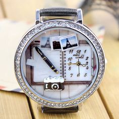 Cheap Cartoon Camera Notebook Polymer Clay Watch For Big Sale! Simple Watches, Trendy Watches, Cute Watches, Retro Watches, Cheap Watches, Elegant Watches, Beautiful Watches, Vintage Watches, Latest Watches