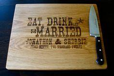 Personalized Cutting Board, Custom Engraved - White Oak12x15 - Wedding Gift, Anniversary Gift, Houswarming Gift. $37.00, via Etsy.