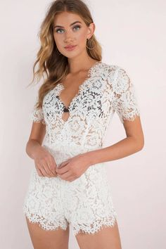 d3d47af7a34d The perfect mix between sweet and simple. The Isabel Lace Romper features a  lace detail