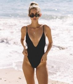 Classic black one piece suit with sexy deep v Beach Babe, Summer Beach, Summer Vibes, Bikinis, Swimsuits, Bikini Swimwear, Bikini Beach, Monokini, One Piece Swimsuit