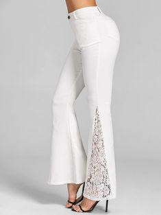 Lace Panel Flare Pants Cheap Fashion online retailer providing customers trendy and stylish clothing including different categories such as dresses, tops, swimwear. Fashion Pants, Fashion Dresses, Salwar Pants, Salwar Designs, Designs For Dresses, Pants For Women, Clothes For Women, Pants Pattern, Flare Pants