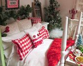 Red and White Dollhouse Miniature Bed, Bedding Set, Chest of  Drawers and Pictures-1:12 Scale