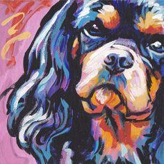 black and tan Cavalier King Charles Spaniel art print modern Dog art pop art bright colors 8x8