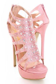 ad274401032 Blush Satin Upper Rhinestone Open Toes Platform Heels ᖽ. Lyllia Bliss · Pink  High Heels