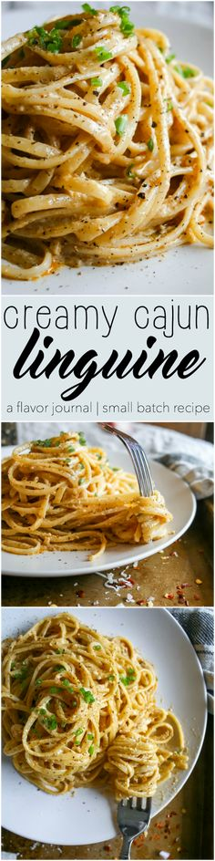 creamy, spicy, decadent cajun cream sauce coats every strand of this linguine pasta dish. topped with parmesan cheese and green onion, it's a small batch recipe for two (plus a little extra! creamy cajun linguine a flavor journal Cajun Recipes, Italian Recipes, New Recipes, Chicken Recipes, Vegetarian Recipes, Cooking Recipes, Popular Recipes, Recipies, Baked Chicken