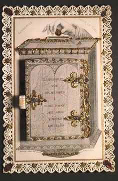 Vintage Holy Cards, Money Bank, French Lace, Reyes, Ciel, Holi, Postcards, Antiques, Frame