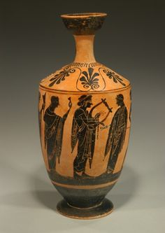 """ATTIC BLACK-FIGURE LEKYTHOS """"The Concert of Apollo"""" with the god of music playing a lyre instead of his usual kithara. Late 6th century BC"""