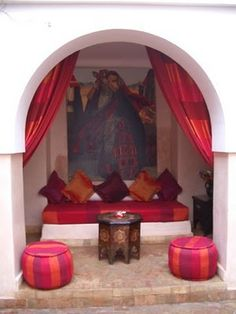 I love this Moroccan themed courtyard lounge!