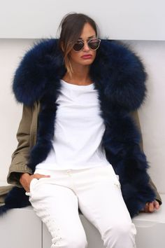 blue fur lined parka