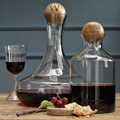 classy glassy // Glass Bottles with Wood Stoppers