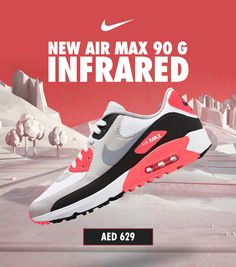 Fresh drop! Nike Golf's AirMax 90 G are now available in Infrared and Smoke Grey! Shop in store or online at #eGolfMegastore. ____ #nike #nikegolf #airmax #airmax90g #nikeshoes #nikegolfclub #airmaxinfrared #airmaxsmokeygrey #hypebeast #eGolf Nike Golf Clubs, Used Golf Clubs, Air Max 90, Nike Air Max, Air Max Sneakers, Sneakers Nike, Golf Stores, Taylormade, Golf Ball