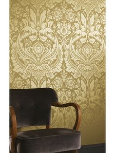 Desire Gold Damask Wallpaper - Golden Wall Coverings by Graham & Brown Gold Damask Wallpaper, Black Wallpaper, Mustard Wallpaper, Tapete Gold, Brick Effect Wallpaper, Golden Wall, Graham Brown, Designer Wallpaper, Wallpaper Designs