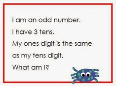 FREE math riddles sample set for first and second grade.  http://iteachfirst1.blogspot.com/2015/04/sample-sunday-riddles-for-math.html