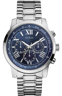 This gents Guess watch, features a stainless steel polished case with a  blue sunray chronograph dial and a silver tone brushed polished stainless  steel ... 291f82ee95d3
