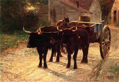 Il Carro trainato da buoi, olio su tela di Edward Henry Potthast (1879-1881, United States)