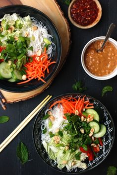 Busy girl spring roll bowl with tons of fresh veggies herbs and a creamy peanut dressing. Spring Roll Bowls, Spring Rolls, Vegetarian Recipes, Cooking Recipes, Healthy Recipes, Veggie Recipes, Clean Eating, Healthy Eating, Healthy Food