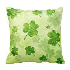 Green Shamrock Pattern Throw Pillows