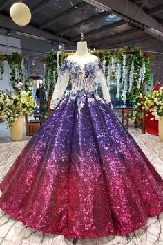 Ball Gown Long Sleeves Sequins Scoop Prom Dress, Puffy Quinceanera Dress Appliques, SJS, This dress could be custom made, there are no extra cost to do custom size and color. Ombre Prom Dresses, Pretty Quinceanera Dresses, Princess Prom Dresses, Cheap Prom Dresses, Wedding Dresses, Dance Dresses, Long Sleeve Quinceanera Dresses, Ombre Gown, Junior Dresses