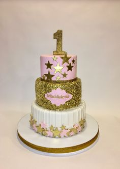 Twinkle,Twinkle Little Star gold and pink 1st Birthday Cake.