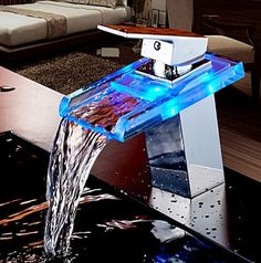 Copper basin faucet LED light thermostat washbasin faucet bathroom cabinet bathroom faucet hot and cold home