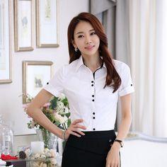 Work Wear Office, Office Uniform, Office Blouse, White Short Sleeve Blouse, Uniform Shirts, Formal Shirts, Blouse Styles, Tulum, Clothing Ideas