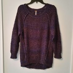 Free People Sweater Beautiful and comfy dark purple Free People sweater. Hardly worn. In great condition. Free People Sweaters