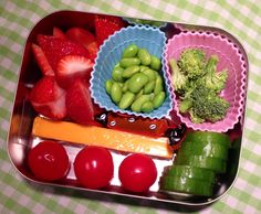 Vegetarian bento lunch - edamame, cheese stick, fresh fruit & veggies #lunchbots