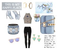 """""""Blue bag """" by lovestyle123 ❤ liked on Polyvore featuring TFNC, Pier 1 Imports, LSA International, Steve Madden, Chico's, Valentino, Le Specs, Cara and Jennifer Behr"""