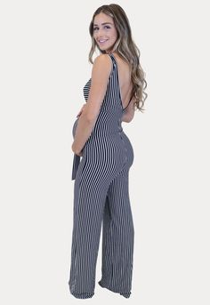 Summer Maternity Stripes - Sexy Mama Maternity Maternity Jumpsuit, Casual Maternity, Maternity Leggings, Maternity Gowns, Maternity Fashion, Maternity Styles, Pregnancy Months, Pregnancy Outfits, Off The Shoulder Jumper