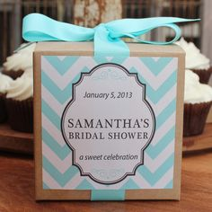 8  Bridal Shower Favor Cupcake Boxes  Chevron by thefavorbox