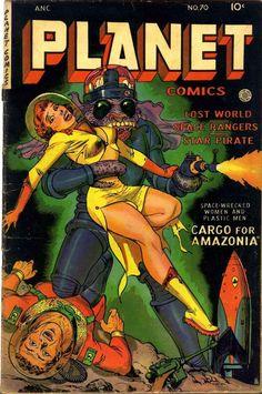 Planet Comics pulp cover art, nip and thigh in space Arte Pulp Fiction, Pulp Fiction Comics, Sci Fi Comics, Horror Comics, Posters Vintage, Vintage Comics, Sci Fi Books, Comic Books Art, Caricature