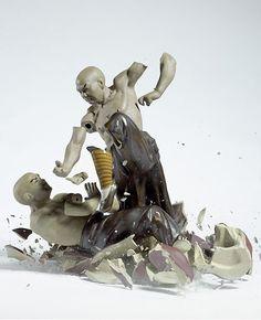 Shattering porcelain figurines by Martin Klimas
