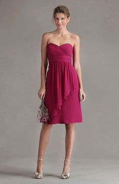 a-line, bridesmaid dress, luxe chiffon, strapless, sweetheart neckline, dresses, bridesmaid, knee, cocktail