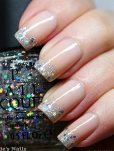 Silver glitter nail art. #nails #nailart #nailpolish #manicure