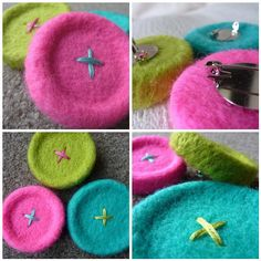 Needle Felted Button Brooches (via the beauty is in the detail …)