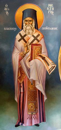 Άγιος Νεκτάριος / Saint Nektarios of Aegina Saints, Fresco, Santos