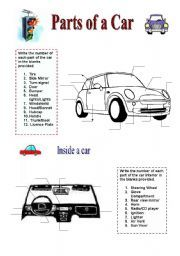 Basic Parts Of A Car Parts Of A Car 2 Pages 5th Grade Boys