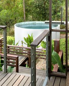 Concrete water tank plunge pool.