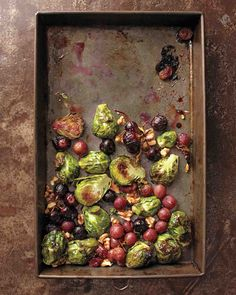 Thanksgiving Sides: Roasted Brussels Sprouts and Grapes with Walnuts