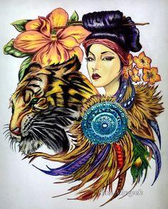 ❤️ Coloring Book: Color My Sketchbook artist: Bennett Klein Coloring tools: Caran dAche Watercolor pencils, Derwent Soft Drawing pencils, Copic marker  #colourmysketchbook #carandache #adultcoloringbook #coloringforadults