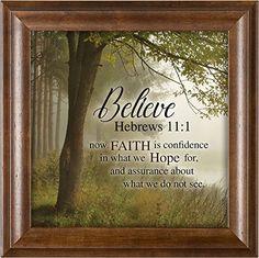 Elanze Designs Believe Faith is Hope Hebrews Verona Mocha Wood Finish 12 x 12 Framed Art Wall Plaque