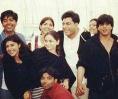 SRK with kajol, karan johar, uday chopra. . . . . .