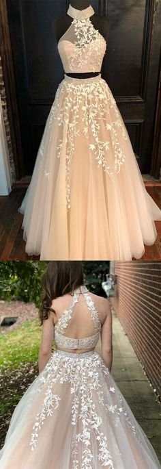 Appliques Tulle Two Piece Prom Dress, Elegant Beaded Formal Long Prom 2 Pieces Cocktail Dresses, Women Party Gowns ,Cheap Prom Gowns ,Elegant Evening Gowns Prom Dresses Long Pink, Pretty Prom Dresses, Prom Dresses 2018, Tulle Prom Dress, Quinceanera Dresses, Elegant Dresses, Cute Dresses, Lace Dress, Evening Dresses