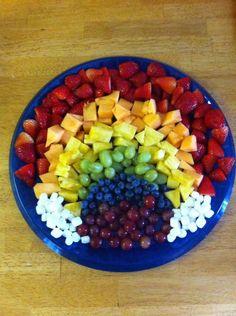 DIY Rainbow fruit salad @Sara Dierkes  Saw ur posts for R's bday party...rainbows. :-)