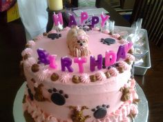 Puppies and Pink Birthday Cake