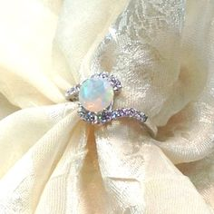 Opal Bypass Ring or Engagement Ring Handmade by NorthCoastCottage